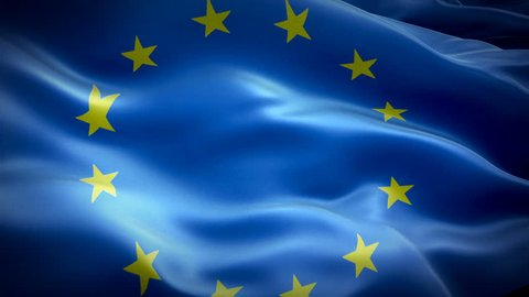 European Union waving flag. National 3d Euro flag waving. Sign of European Union seamless loop animation. Euro flag HD resolution Background. European flag Closeup 1080p Full HD video presentation