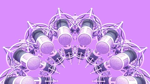 Abstract 3D rendering animation of Retro Style Background - Rotating Group of Microphones.