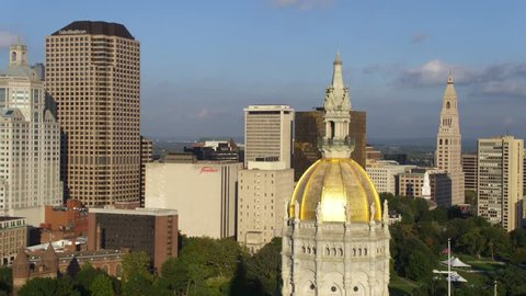 Hartford, Connecticut / United States - August 25 2018: Close-Up Hartford Connecticut State Capitol Building Dome, Skyline Aerial Drone