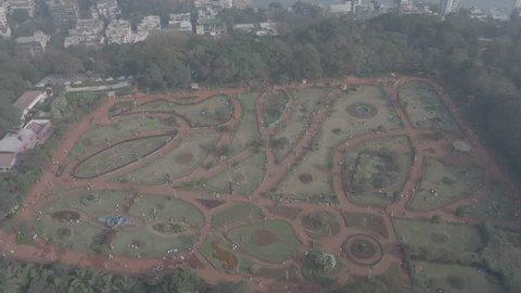 Hanging gardens in Mumbai, 4k aerial ungraded/flat