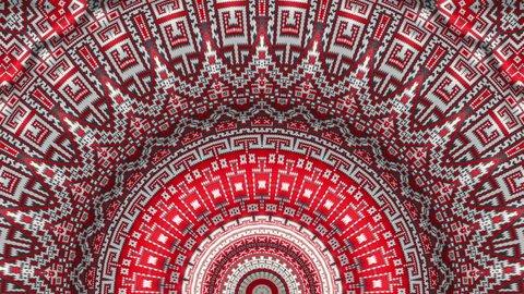 Animated ukraine red ornament on white flag. National ethno ornaments symbols. Wave effect motion background.