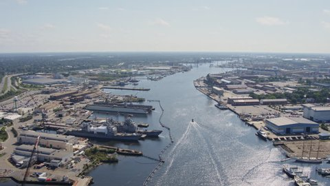 Norfolk Virginia Aerial Reverse panning from Portsmouth to Norfolk cityscapes and shipyard detail 10/17