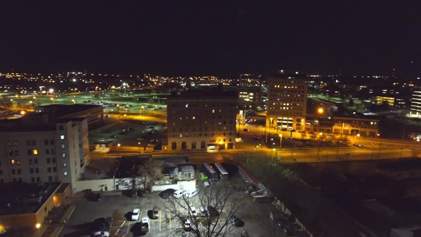 4k aerial view of the Flint Michigan skyline at night | Shutterstock HD Video #1023975935