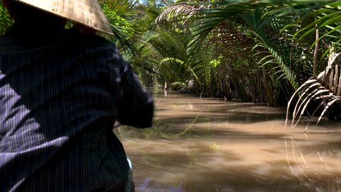 Rear view of a local Vietnamese woman wearing a leaf hat and paddling a traditional boat or canoe in the Mekong Delta, Vietnam