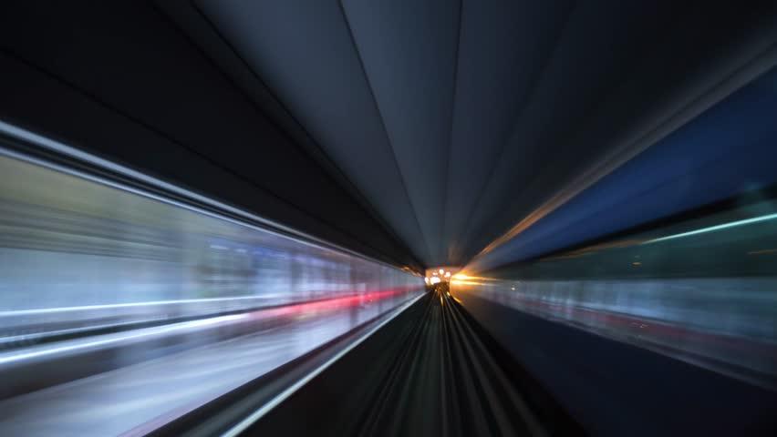 DUBAI, UAE - JANUARY 29 2019: Night time lapse of Dubai metro. Modern and fast mode of transportation in city   Shutterstock HD Video #1024016165