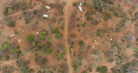 4K high aerial view of a rural village Mahenye Village, Zimbabwe