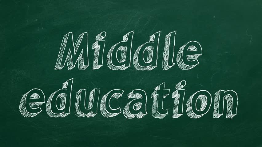 "Hand drawing ""Middle education"" on green chalkboard | Shutterstock HD Video #1024055045"