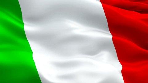 Italian flag Closeup 1080p Full HD 1920X1080 footage video waving in wind. National 3d Italian flag waving. Sign of Italy seamless loop animation. Italian flag HD resolution Background 1080p