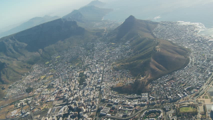Aerial view of Cape Town city with Table Mountain and World Cup stadium