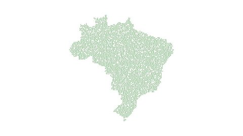 Brazil Dotted Map Networking Green Dot Motion Graphic 4K. The appearance and disappearance of the map of abstract Brazil