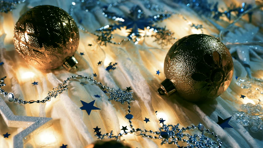 Christmas and New Year background with shiny balls, sparkling snowflakes and confetti. | Shutterstock HD Video #1024156415