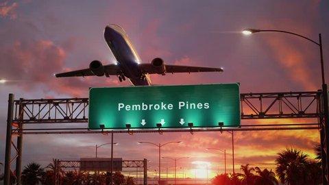 Airplane Take off Pembroke Pines during a wonderful sunset
