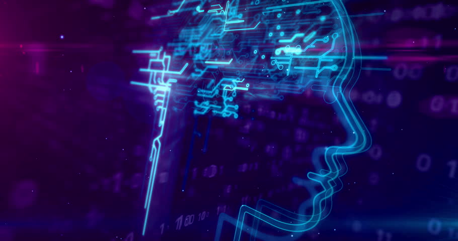 Artificial intelligence, cybernetic brain and deep machine learning concept animation. Face shape with futuristic cyber mind on dynamic 3D digital background. | Shutterstock HD Video #1024170305