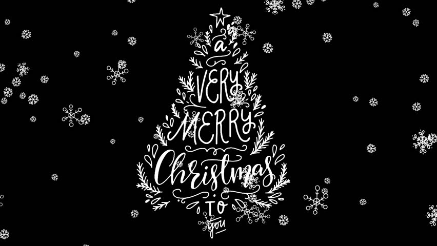 A Very merry Christmas to you hand written lettering in holiday tree with animated falling snowflakes. Greeting on transparent background for animated  holiday ecard, winter mood. Video alpha channel | Shutterstock HD Video #1024170935