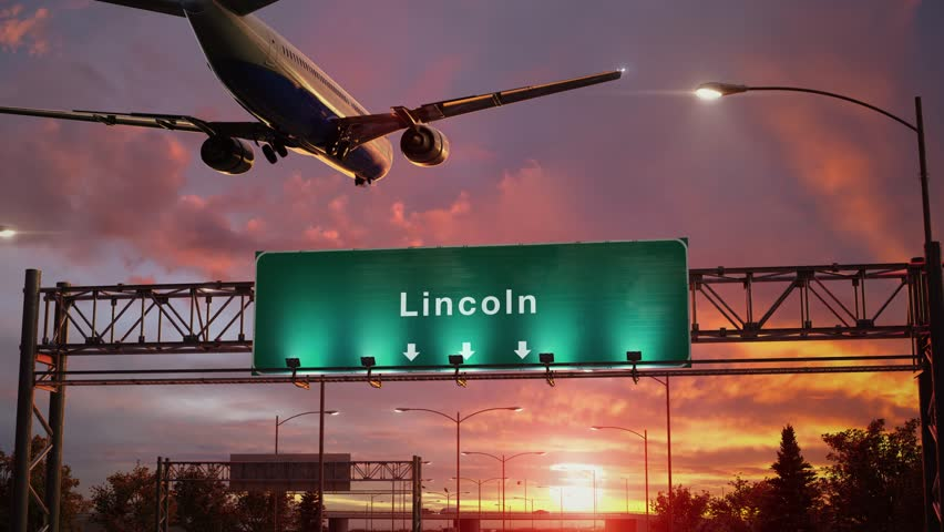 Airplane Landing Lincoln during a wonderful sunset