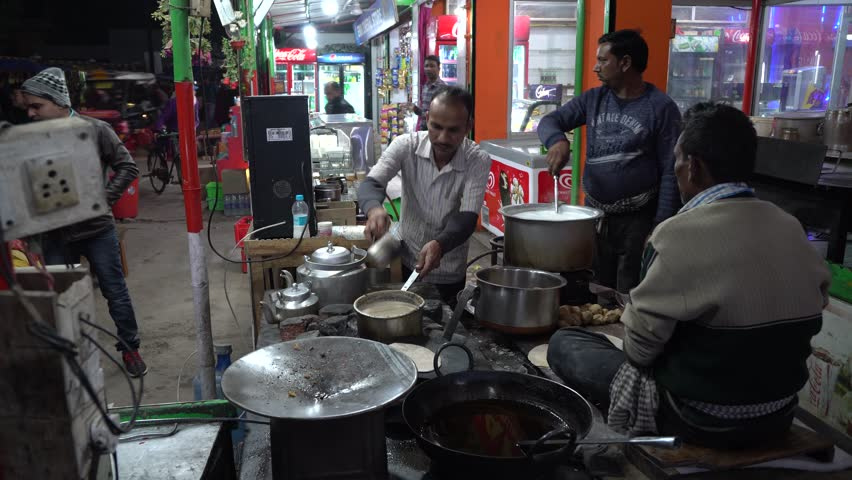 Bodh gaya, India -January 6, 2019 : Indian local dinner restaurant at night in Gaya, India   Shutterstock HD Video #1024350185