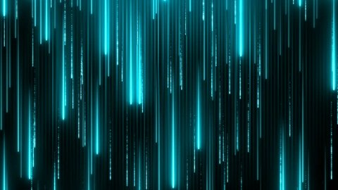 Blue neon technology background. Abstract application code moving in a cyberspace. Data flow texture. Script running on a screen. HUD concept. Bright beams falling down. Seamless loop.
