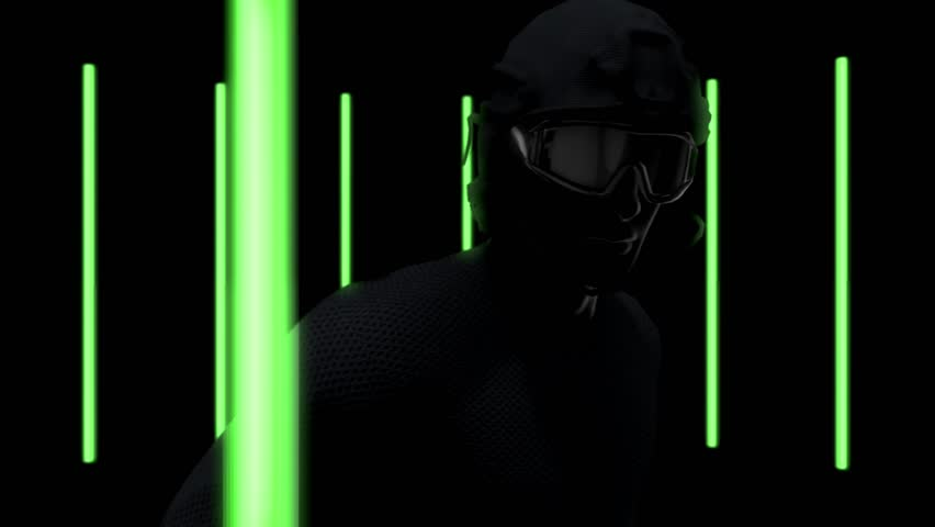 Athletic man wears combat suit and VR headset training for running with green neon light background, Camera moving around, Seamlessly loopable 3D Rendering Animation. | Shutterstock HD Video #1024383275