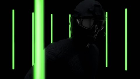 Athletic man wears combat suit and VR headset training for running with green neon light background, Camera moving around, Seamlessly loopable 3D Rendering Animation.