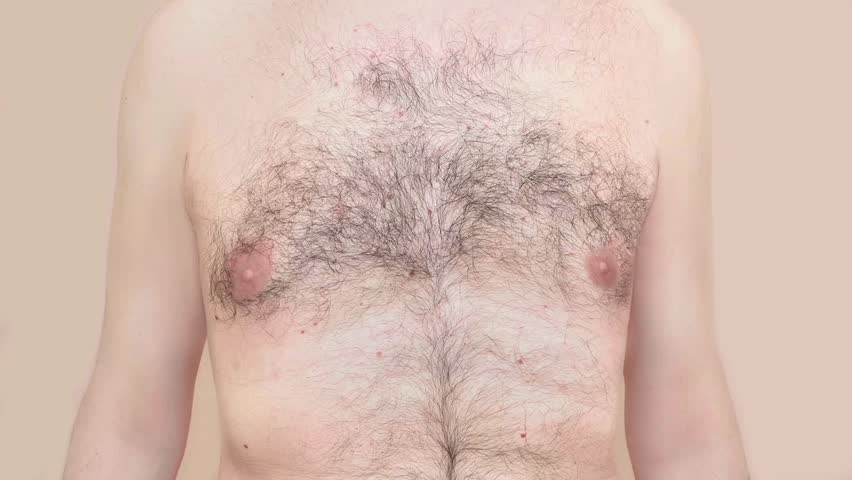 Chest of a man before and after depilation    | Shutterstock HD Video #1024447745
