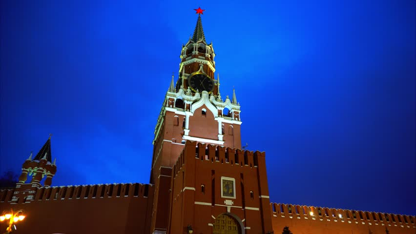 Kremlin Clock or Kremlin Chimes, Kremlin wall, red star, close up, blue sky