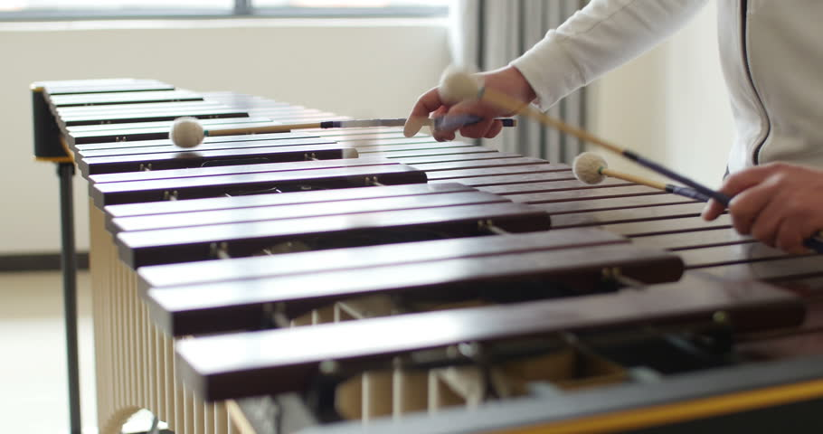 marimba wooden bars hit by percussionist musical hands. musician playing marimba. perfect video to introduce marimba instrument to the youth.
