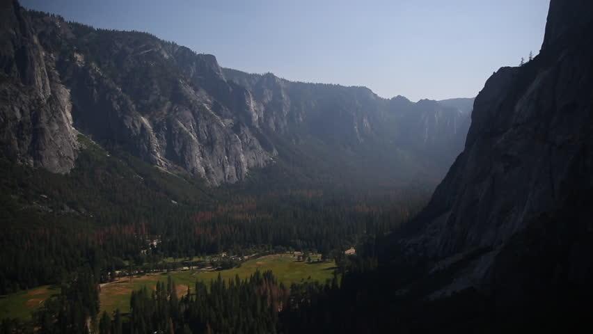 Pan of Yosemite Valley.