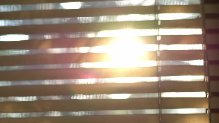 Abstract blurred sunlight goes through the window blinds and mosquito wire screen. #1024660145