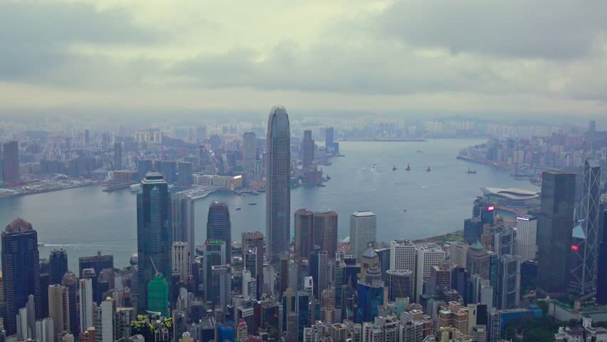 Time-lapse Hong Kong City skyline day time view from Victoria Peak : zoom out. | Shutterstock HD Video #1024681235