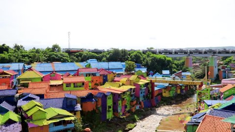Malang, East Java / Indonesia - Jan 15, 2019: Scenic View of Colorful Rainbow Village (Kampung Warna) Jodipan Malang, East Java, Indonesia, Asia