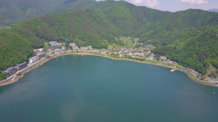 Aerial shot Kawaguchi Fuji in Japan  | Shutterstock HD Video #1024692365