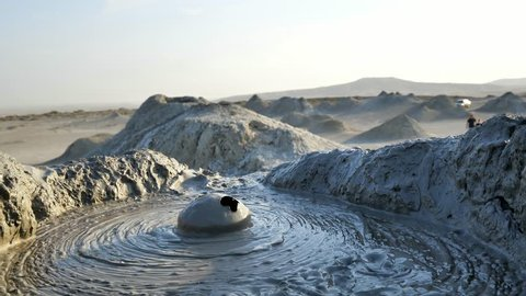 Close up shot of the mud exploding from the earth at the Mud Volcanoes in Baku, Azerbaijan