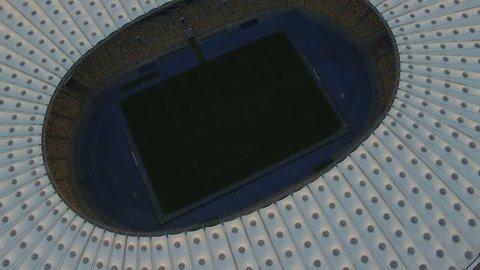 KIEV, UKRAINE. Aerial View of Olympic stadium. Football Arena on Sunset