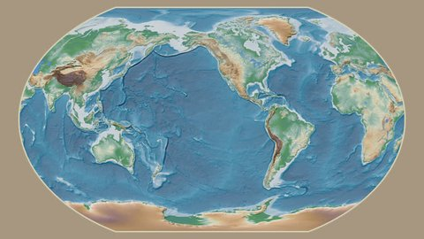 Zimbabwe area presented against the global physical map in the Kavrayskiy VII projection with animated oblique transformation
