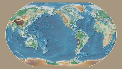 Uganda area presented against the global physical map in the Kavrayskiy VII projection with animated oblique transformation