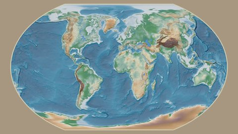 Ukraine area presented against the global physical map in the Kavrayskiy VII projection with animated oblique transformation