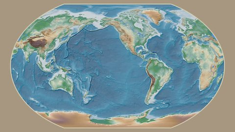 Swaziland area presented against the global physical map in the Kavrayskiy VII projection with animated oblique transformation
