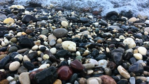 pebbles at the beach, sea waves and pebbles, sand beach, pebble beach