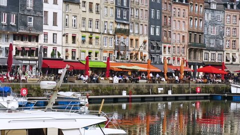 HONFLEUR, FRANCE - APRIL 08, 2018: Honfleur harbour in a beautiful day, Normandy, France
