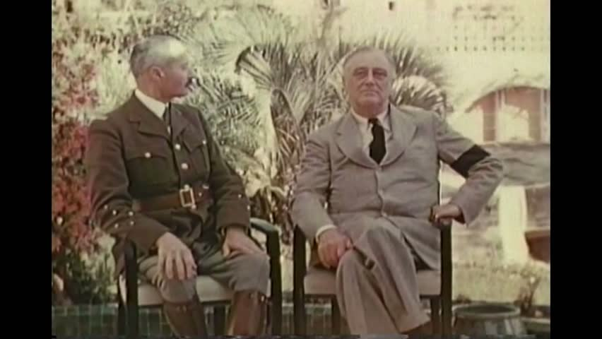 CIRCA 1943 - FDR visits Morocco for high level meetings with Allied strategists in World War Two. Good footage of French general Henri Giraud.