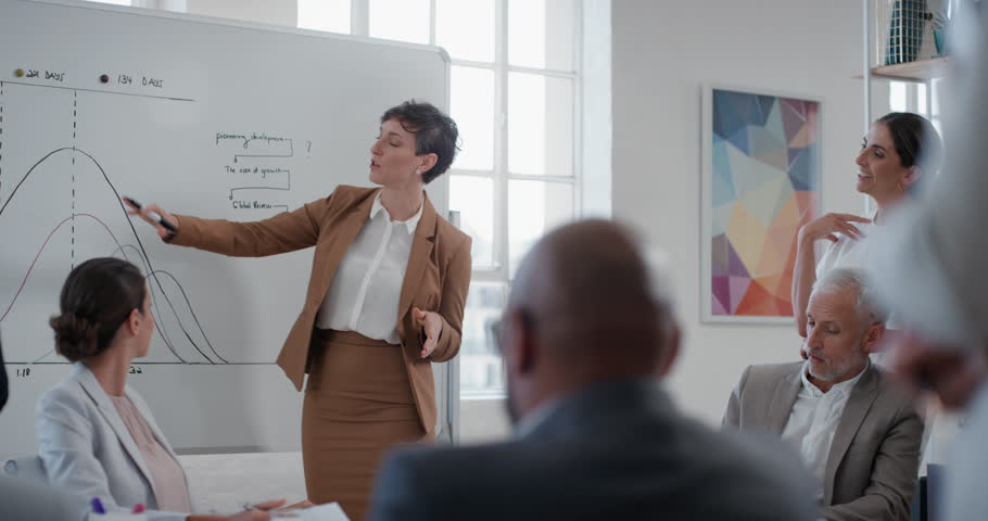 Young business woman team leader presenting project strategy showing ideas on whiteboard in office presentation diverse colleagues enjoying training seminar | Shutterstock HD Video #1025003195