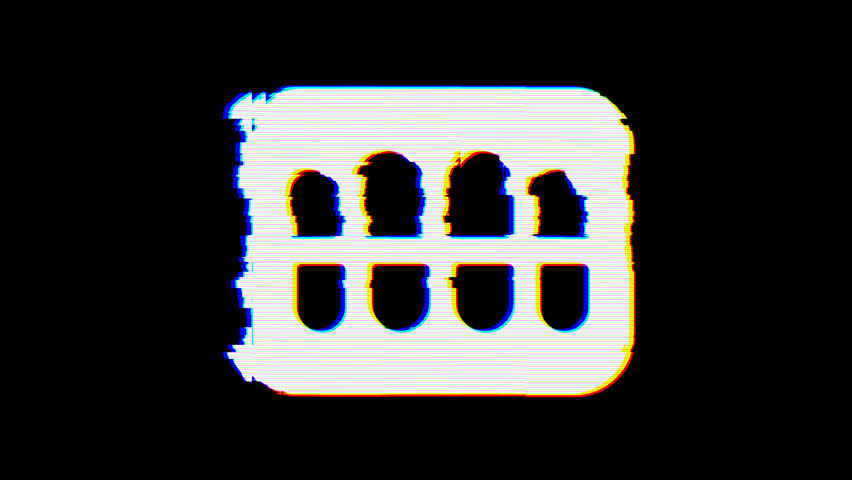 From the Glitch effect arises teeth symbol. Then the TV turns off. Alpha channel Premultiplied - Matted with color black | Shutterstock HD Video #1025005955