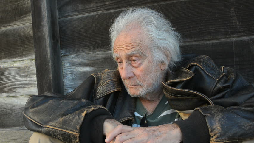Homeless Senior Man in an alley