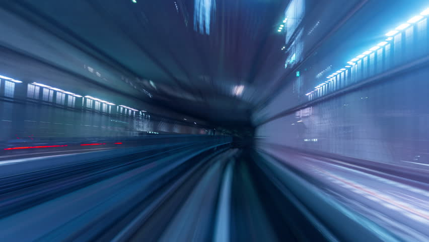 Time lapse of automatic train moving to tunnel in Tokyo, Japan. 4K | Shutterstock HD Video #1025072405