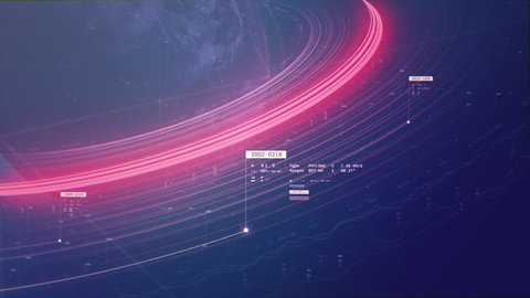 3D animation of 2D vector graphs charting space and Saturn rings with data points and coordinate with bright purple and pink colors. Created in 4k.