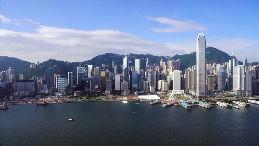 City sky line view from the sea of the city, in the frame of skyscrapers in the background of the mountains | Shutterstock HD Video #1025090165