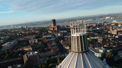Liverpool Cathedral viewed from Metropolitan Cathedral , Architectural sights of Liverpool city. Liverpool U.K