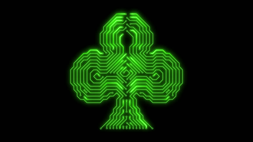 Green glowing plaing card symbol - clubs on transparent background. Circuit board glowing style. 4k video. Alpha channel | Shutterstock HD Video #1025222765