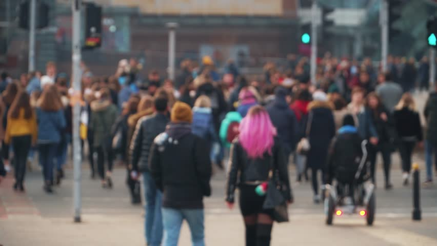 Movement of people and cars in the megalopolis | Shutterstock HD Video #1025314805