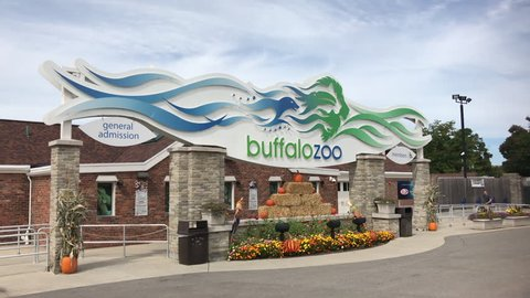 BUFFALO, NY - SEPTEMBER 17: Buffalo Zoo entrance exterior establishing shot in Buffalo, New York on September 17, 2018.